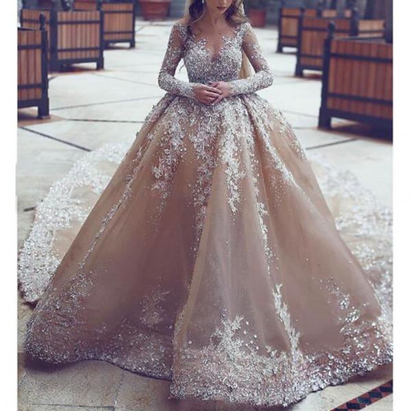 Саудовская Аравия Свадебные Платья Потрясающие Бисером Линия Шампанское Свадебное Платье Съемный Хвост Свадебное Платье Платье С Длинными Рукавами