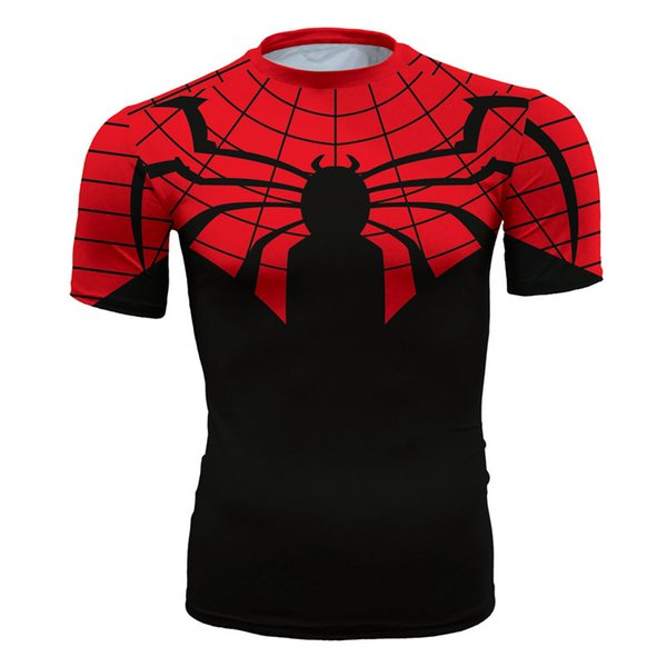Men's fashion creativity t-shirt superman red tights tee superhero Spider-Man sport short sleeves cycling fast dry basketball vest