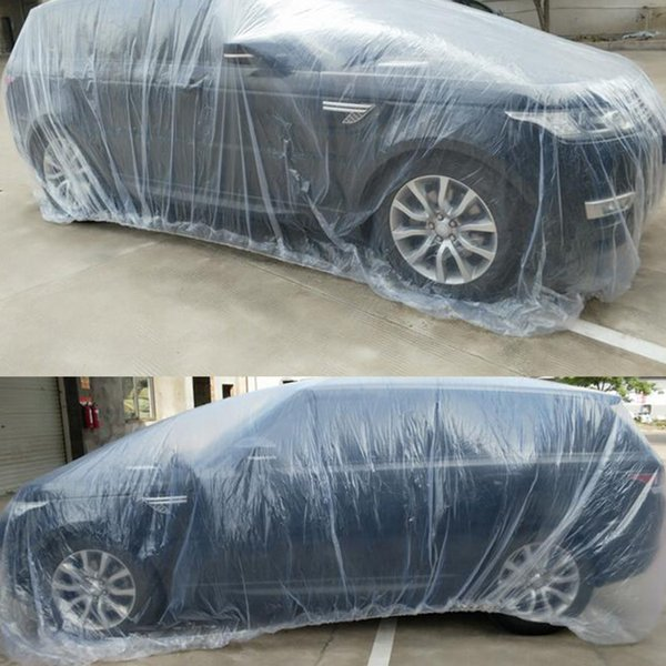 Universal Car SUV Body Rain Dust Snow Garage Cover Plastic Temporary Disposable