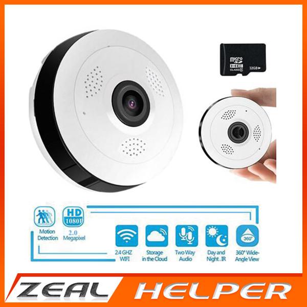 360 Degree Panoramic Wide Angle MINI CCTV Camera P2P 2MP HD1080P Wireless Smart IP Camera Fisheye Lens Home Security Wifi Camera