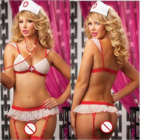 Envío gratis nueva lencería sexy cosplay Halloween blanco Bikini redes sin respaldo perspectiva de malla de tres puntos uniforme de la enfermera tentación conjunto