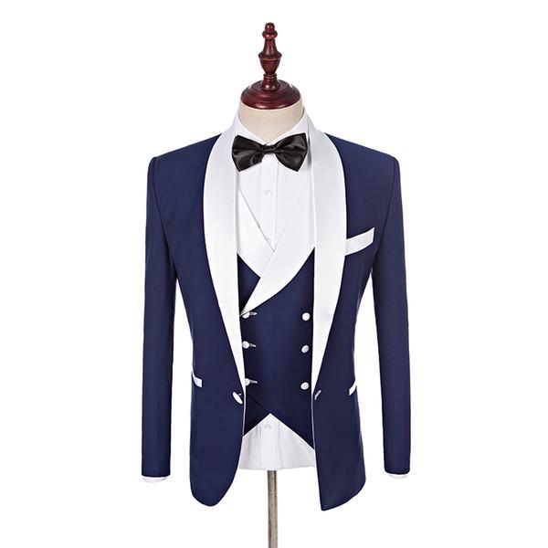 2017 Custom Made Padrinhos Xale Branco Lapela Noivo Smoking Azul Homens Ternos de Casamento Melhor Homem Blazer (Jaqueta + calça + colete + gravata borboleta)
