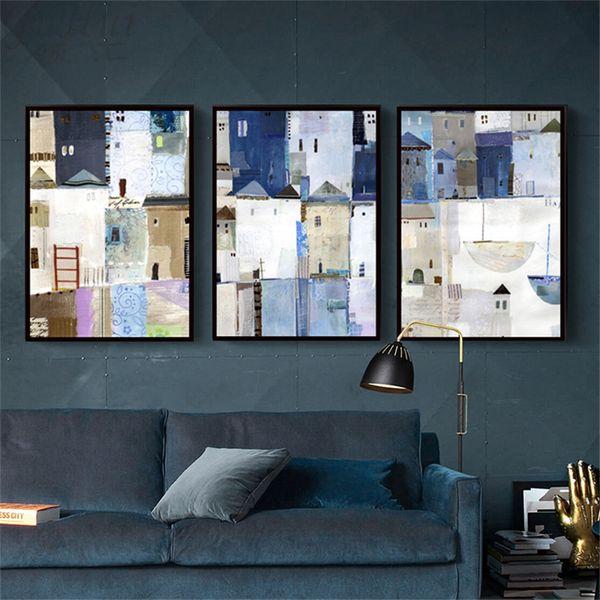Acheter Nordique Ville Moderne Abstrait Gris Bleu Toile Peinture Peint à L Huile Restaurant Mur Image Art Affiche Home Salon Décoration De 36 66 Du