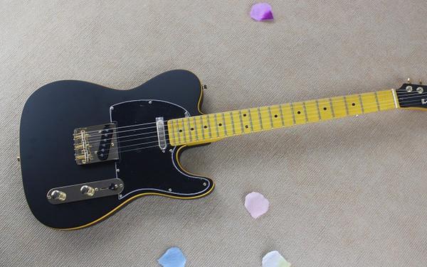 2014 New Arrival Black Headstock F Telecaster Matt Black Paint Electric Guitar Golden Hardware Tele Guitarv Free Shipping