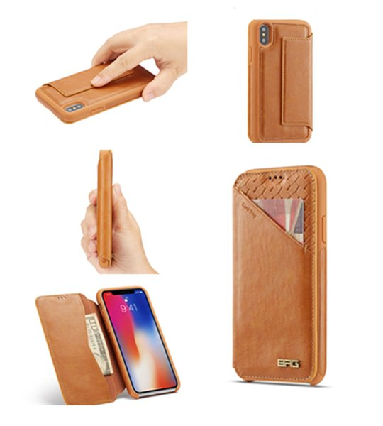 Ultraslim Wallet Folio Cover with Card Slots Hidden Magnetic Closure Soft Genuine Leather Protective Case For iPhone XS Max XR OPP Bag