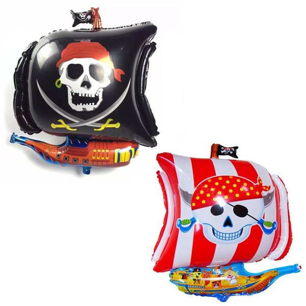 Cheap 50pcs/lot irregular skull boat foil balloons sea rover pirate Halloween helium balloon Birthday party ballons decoration