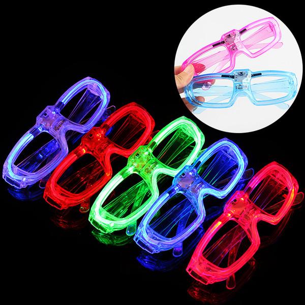 Parte del obturador Led resplandor luz fría gafas iluminan tonos flash rave gafas luminosas animar atmósfera Favor DJ brillante juguetes AAA1018