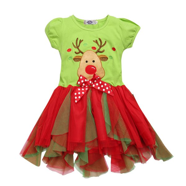 Green Red Reindeer Baby Girl Dress 2018 Merry Christmas Children Clothes Girls Ball Gown Tutu Dresses Toddler One-Piece Skirts