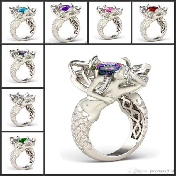 Size 5-10 Mystic Rainbow Topaz Colorful CZ Diamond 925 Sterling Silver Charming Mermaid Band Ring Special Gift Unique Design Fashion Jewelry