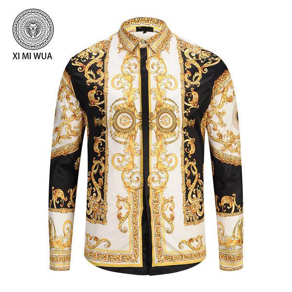 Vdfdg Brand New Cor floral impressão homem de manga longa camisa de homens de negócios casuais vestido slim fit camisa de algodão dos homens camisas medusa
