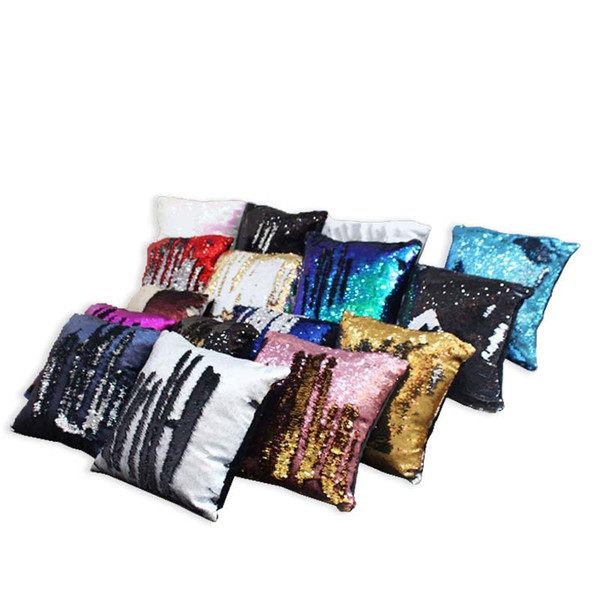 Sequin Pillow Case cover Mermaid Pillow Cover Glitter Reversible Sofa Magic Double Reversible Swipe Cushion cover 16 design
