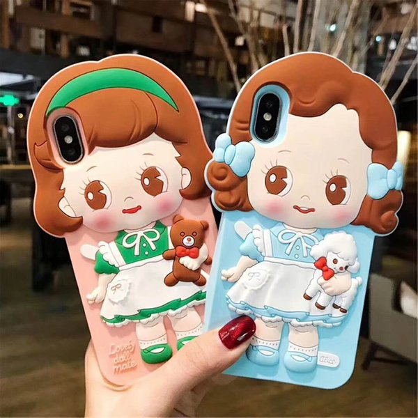 Cartoon Cute Flexible doll Silicone Rubber Soft Silicone Gel Skin Flexible Bumper 3D Protective Case for iphone X/6/7/8 Plus