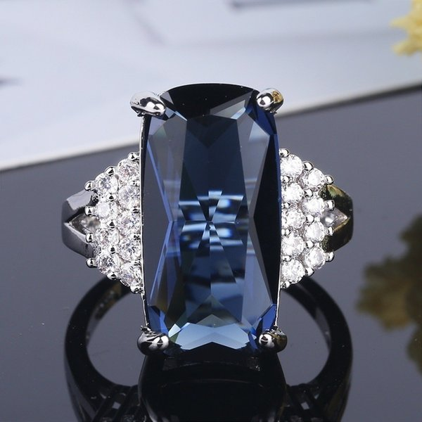 Female Blue Austrian Crystal Princess Cut Stone Wedding Rings For Women Silver Filled Big White Zircon Engagement Jewelry