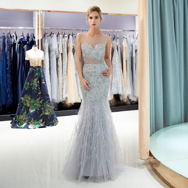 Luxury Sexy Prom Dresses Mermaid Feather Evening Gown Long abiti cerimonia donna Beaded Crystal Sheer Neck Transparent Vestidos Formal Dress
