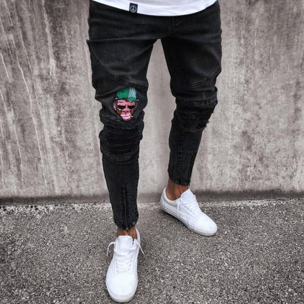 Europa e América Homens Skinny Jeans Casual Rasgar Slim Fit Esticar Denim Jeans Mokey Hip Hop Desgastado Desgastado Motociclista Jeans