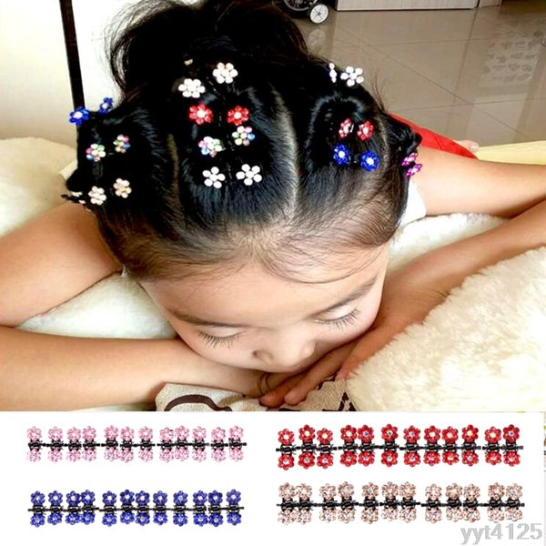 NEW Cute Fashion 12 Pcs Mini Girl Women Rhinestone Flowers Metal Hair Claw Clips Hair Pin Headwear Accessories Beauty Tool
