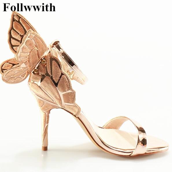 2017 Sophia Webster Buerfly Kanatları Kadınlar Yüksek Topuklar Papyon Yaz Ayakkabı Sandalet Kadın Burnu açık Ayak Bileği Kayışı Parti Ayakkabı Pompaları