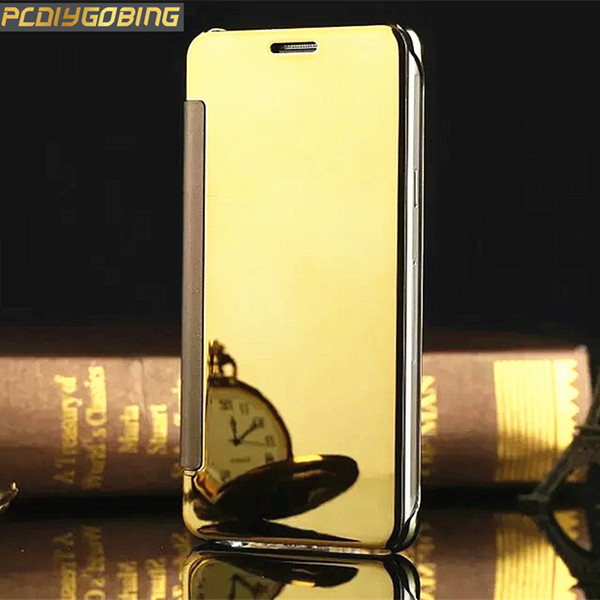 PDGB Cases Glitter Mirror Phone Cover Flip Plating PU Leather Case For Huawei Honor 8 4C Pro Y6 Pro P9 P10 Lite P8 Lite 2017