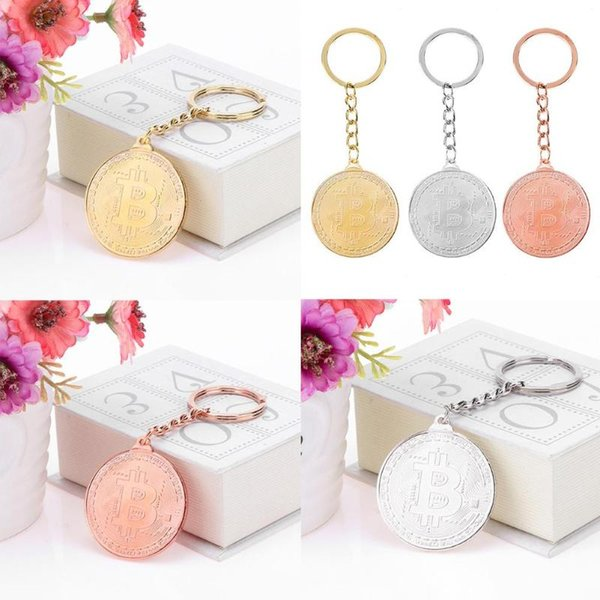Trendy Alloy Non-Currency  Keychain Silver Gold Rose Gold Vintage Commemorative Coin Key Pendant Chain Woman Man Gift