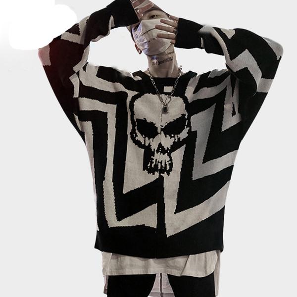 Мужчины Череп Печатных Хип-Хоп Свитер Уличная Одежда Высокого Качества Свободные Негабаритных Свитера Случайные Пуловер Одежда