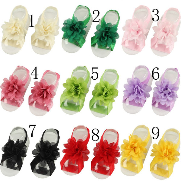 Top Sale!16colors Toddle Baby Foot Flower Barefoot Ties Chiffon Flower shoes wrist ties Kids First Walker Shoes Baby Photography Props F10