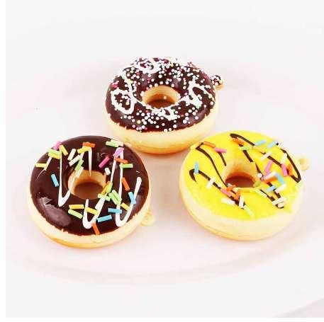 NEW 1PC Cute Key Colorful Soft Kawaii Squishy Chain Straps Donuts Charms Cell Phone Straps Keychain Random Color Sent PU