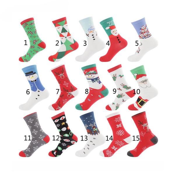 15 Style 2018 New Christmas Cartoon Socks Women Big Girl boy 75% Cotton Cartoon Santa Claus Snowman Elk Middle tube socks B