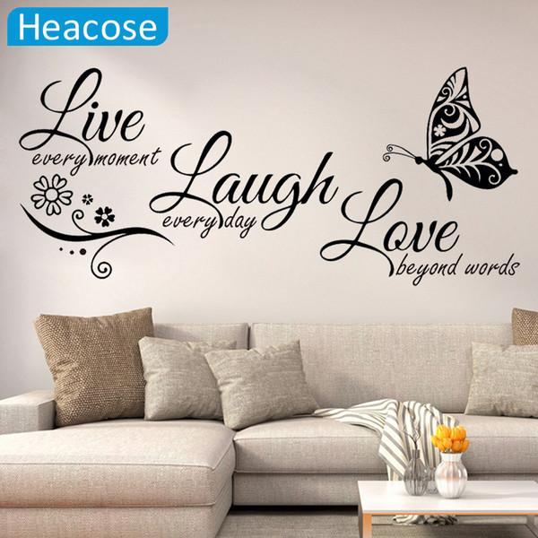 Vivre rire Amour Papillon Fleur Mur Art Autocollant Moderne Stickers Muraux Citations Vinyles Autocollants Autocollants Home Decor Salon