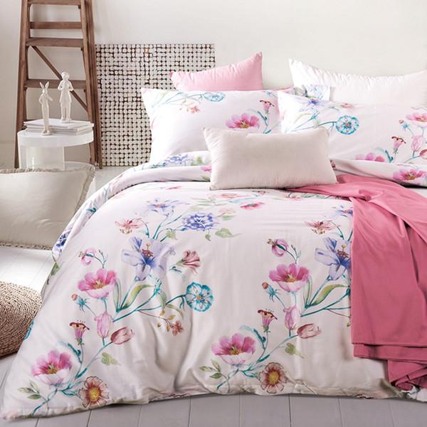 Pastoral Çiçek Nevresim Seti Kraliçe King Size Yatak Seti% 100 Mısır Pamuk Katı Renk Yatak örtüsü / Yatak örtüleri Yumuşak Yastık