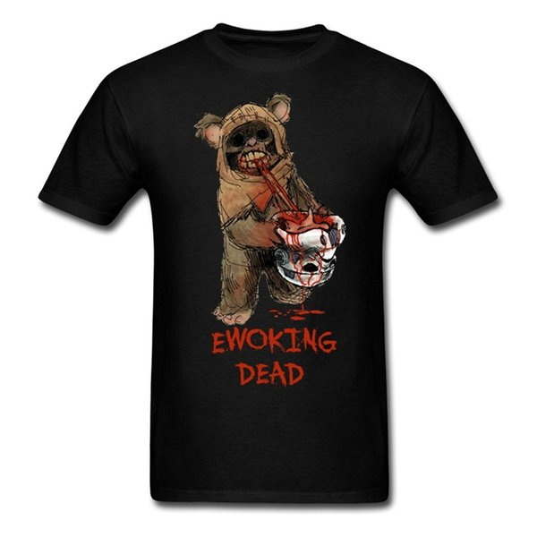 Pride Of The Creature T-shirts Mingse Custom Printed Men's Ewok Zombie T-shirts Black Round Neck Crazy Top Tee