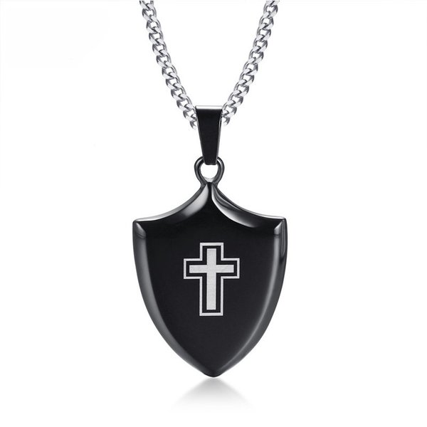 """Punk Black Cross Shield Pendant Necklace Men Jewelry Stainless Steel Cuban Link Chain Male Necklace Free Chain 24"""""""