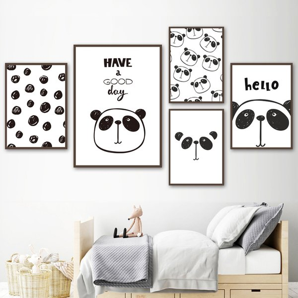 Großhandel Nordic Minimalismus Cartoon Schwarz Weiß Panda Wand Kunst  Leinwand Malerei Poster Und Drucke Wandbilder Kinderzimmer Schlafzimmer  Dekor Von ...