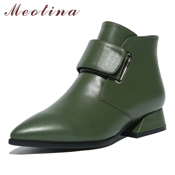 Meotina Natural Genuine Leather Ankle Boots Women Boots Winter Block Heel Short Low Heel Real Leather Shoes Lady Green 42