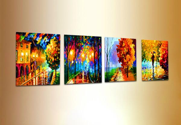 Acheter 100 Fait à La Main 4 Panneau Peinture Au Sol Couteau Peinture à L Huile Paysage Toile Toile à L Huile Mur Art Leonid Afremov œuvres Peintures