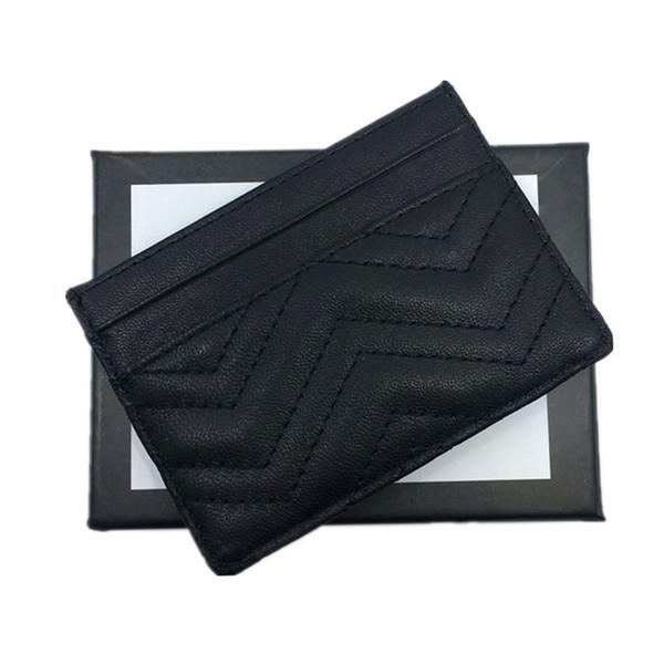 Echtes Leder Kreditkartenetui Brieftasche Klassische Schwarz Frauen Slim ID Kartenetui für Reisen 2018 New Fashion Geldbörse Mini Pocket Bag Top