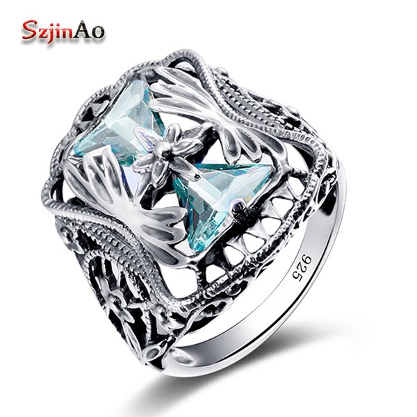 Szjinao Wholesale 925 Sterling Silver Big Rings For Women Blue Aquamarine anel Petals Gift Vintage Wedding Skull Jewelry Y1892704
