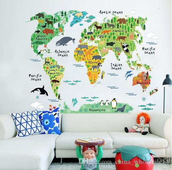 wholesaleCartoon Animals World Map Wall Stickers for Kids Room Decorations Safari Mural Art Zoo Children Home Decals Nursery Posters ARI-348