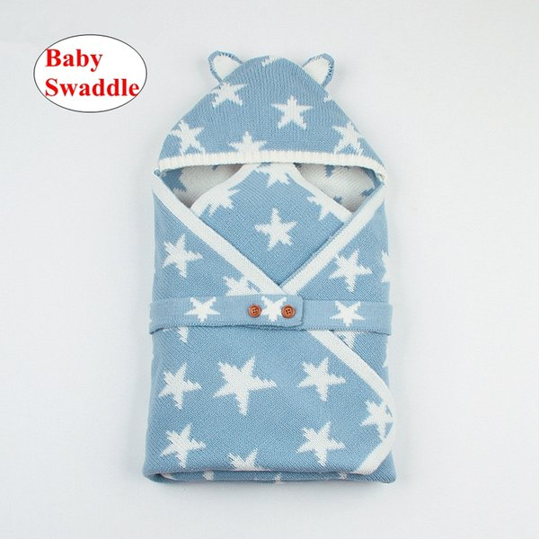 Baby Star print Swaddle Wrap Infant INS Crochet Sleep Bags Toddler Knitted Blanket Sleeping Stroller Sack 3colors