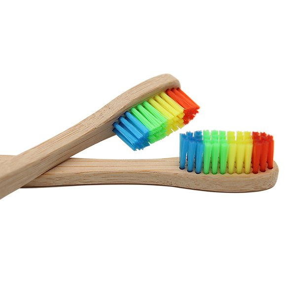 2018 Rainbow Bamboo Toothbrush Wholesale Environment Colorful Head Bamboo Toothbrush Wooden Oral Care Soft Bristle