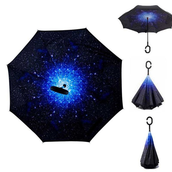 Windproof Double Layer Reverse Folding Inverted Chuva Umbrella Self Stand Rain Protection C-Hook Hands For Car HG99