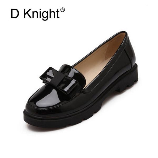 Tatlı Yay Patent Kadın Slip-on Casual Düz Oxford Ayakkabı Moda Kızlar Casual Düz Ayakkabı Yuvarlak Ayak Loafer'lar Kadın Boyutu 34-42