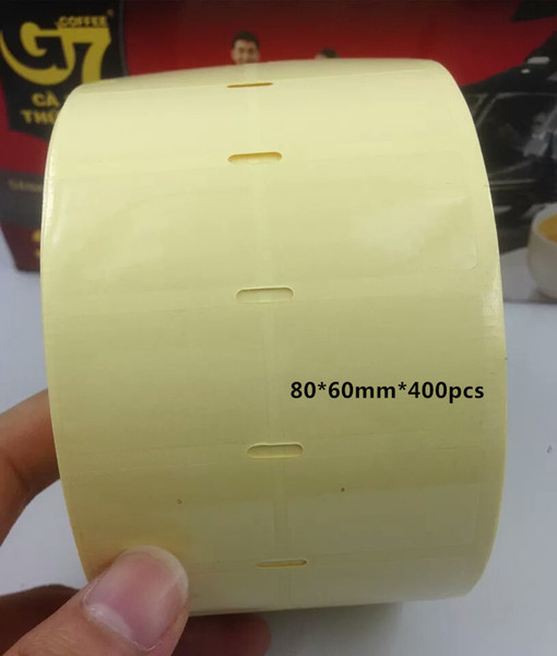 80*60mm 400pcs/roll blank clear or transparent PVC free shipping office barcode self adhesive sticker label for printer