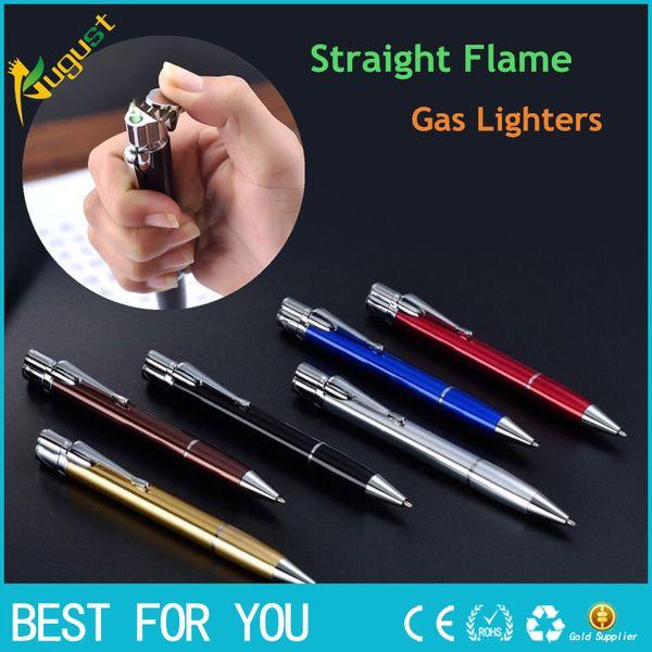 New Hot HONEST Ball Point Pen Shape Windproof Gas Lighters Adjustable Green Straight Flame Gas Jet Torch Cigar Lighter Gadgets For Men