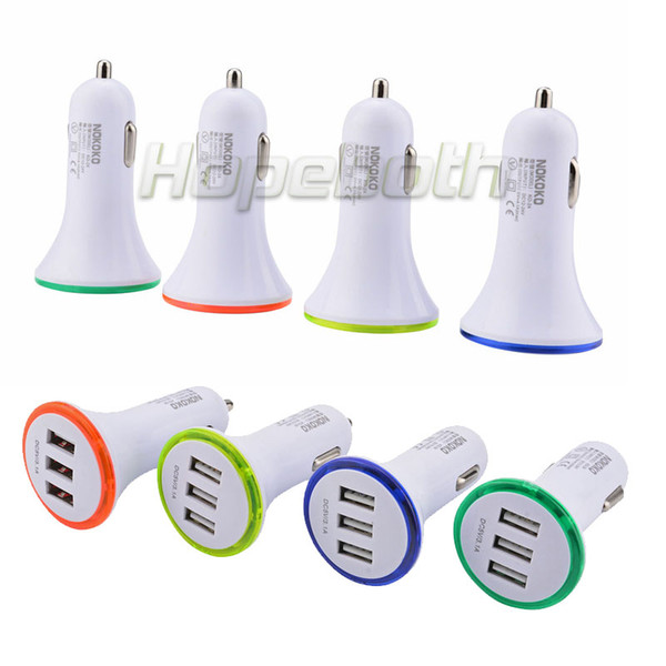 Mini Dual USB Car Charger Adapter Bullet Double USB 3-Port 1A 2A 2.1A for Samsung Galaxy S7 Note 5 i8 X Plus