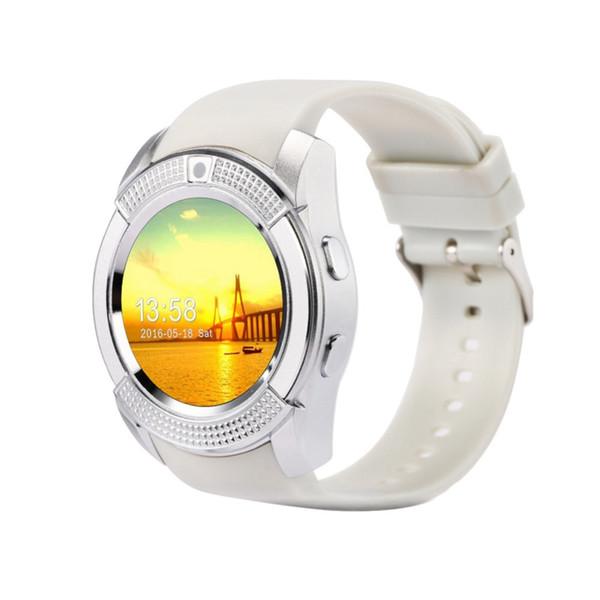 V8 Akıllı İzle Destek SIM TF Kart Spor IPhone Samsung Android Telefon Için Yuvarlak Smartwatch Yuvarlak Kol PK DZ09 GT08 A1