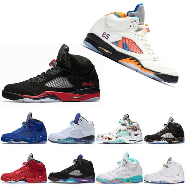 New Bred 5 5S Herren Basketball Schuhe WINGS 3M 75 Flight UNC Raptors Olympische athletische neue Männer Sport Designer Schuhe Sneaker Drop Shipping