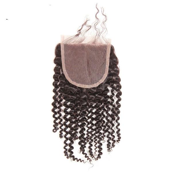 9A Kinky Curl Dentelle Fermeture Brésilienne Vierge de Cheveux Humains Jerry Curl Natrual Couleur 4 * 4 Dentelle Fermeture Partie Gratuite Partie du Milieu