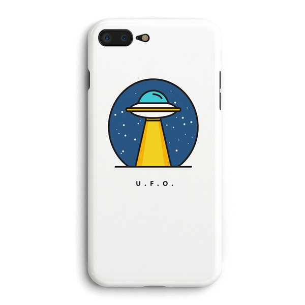 Cute Planet UFO Pattern White Color Soft TPU Phone Case Back Cover For Apple iPhone 6 6S 7 8 Plus X Matte