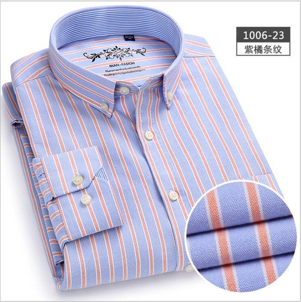 Men's Long Sleeve Contrast Plaid Striped Oxford Dress Shirt with Left Chest Pocket Male Casual Regular-fit Buttoned Down Shirt