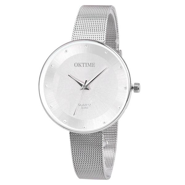 Simple ladies fashion watch OKTIME Women Fashion Diamond Analog stainless steel Quartz Round Wrist Watches montre femme A80